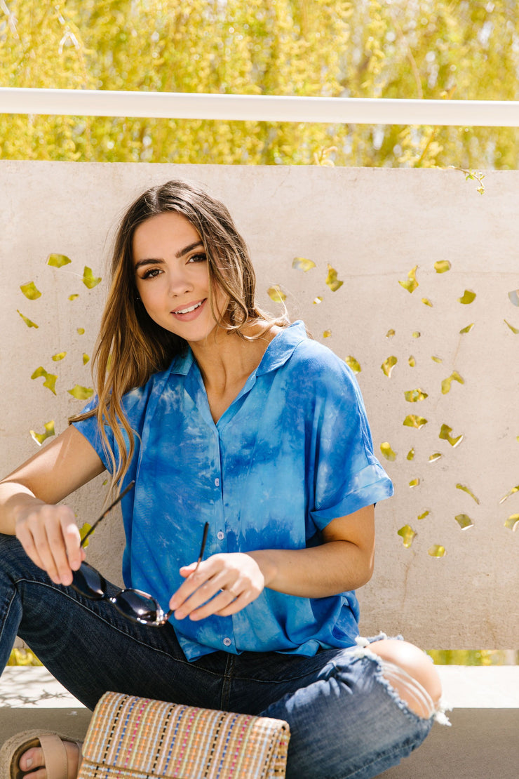 Tie & Tie Dye Top In Sky - Women's Clothing AfterPay Sezzle KanCan Judy Blue Simply Sass Boutique
