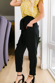 Tied In Knots Black Pants - Women's Clothing AfterPay Sezzle KanCan Judy Blue Simply Sass Boutique