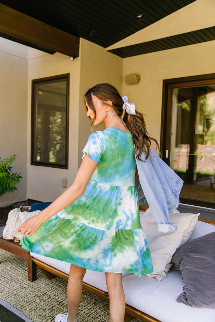 Tiered Tie Dye Dress In Turquoise & Green - Women's Clothing AfterPay Sezzle KanCan Judy Blue Simply Sass Boutique