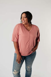 Top Stitch V-Neck In Dusty Rose - Women's Clothing AfterPay Sezzle KanCan Judy Blue Simply Sass Boutique