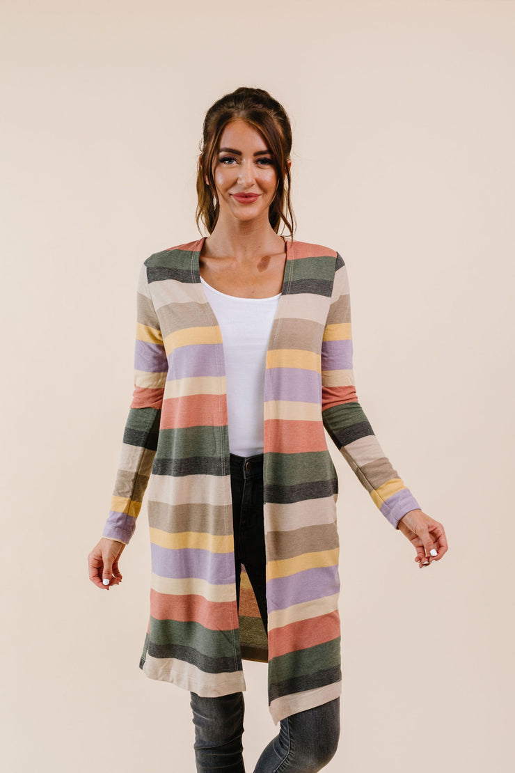 Tranquil Stripes Cardigan - Women's Clothing AfterPay Sezzle KanCan Judy Blue Simply Sass Boutique