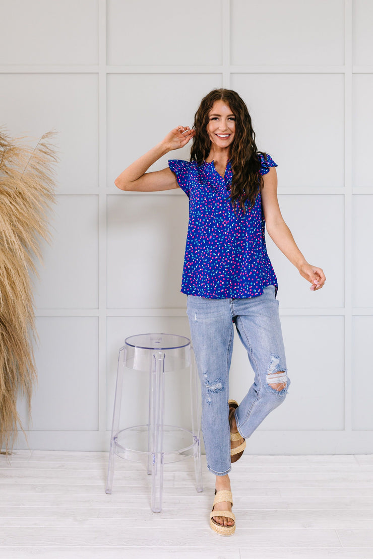 True Blue & Confetti Too Blouse - Simply Sass Boutique