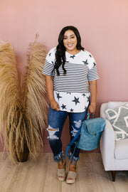 Stripes & Stars Black & White Top - Women's Clothing AfterPay Sezzle KanCan Judy Blue Simply Sass Boutique