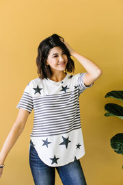 Stripes & Stars Black & White Top - Simply Sass Boutique