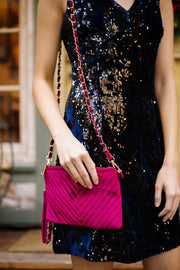 Velvet Chevron Crossbody Clutch In Fuchsia - Simply Sass Boutique