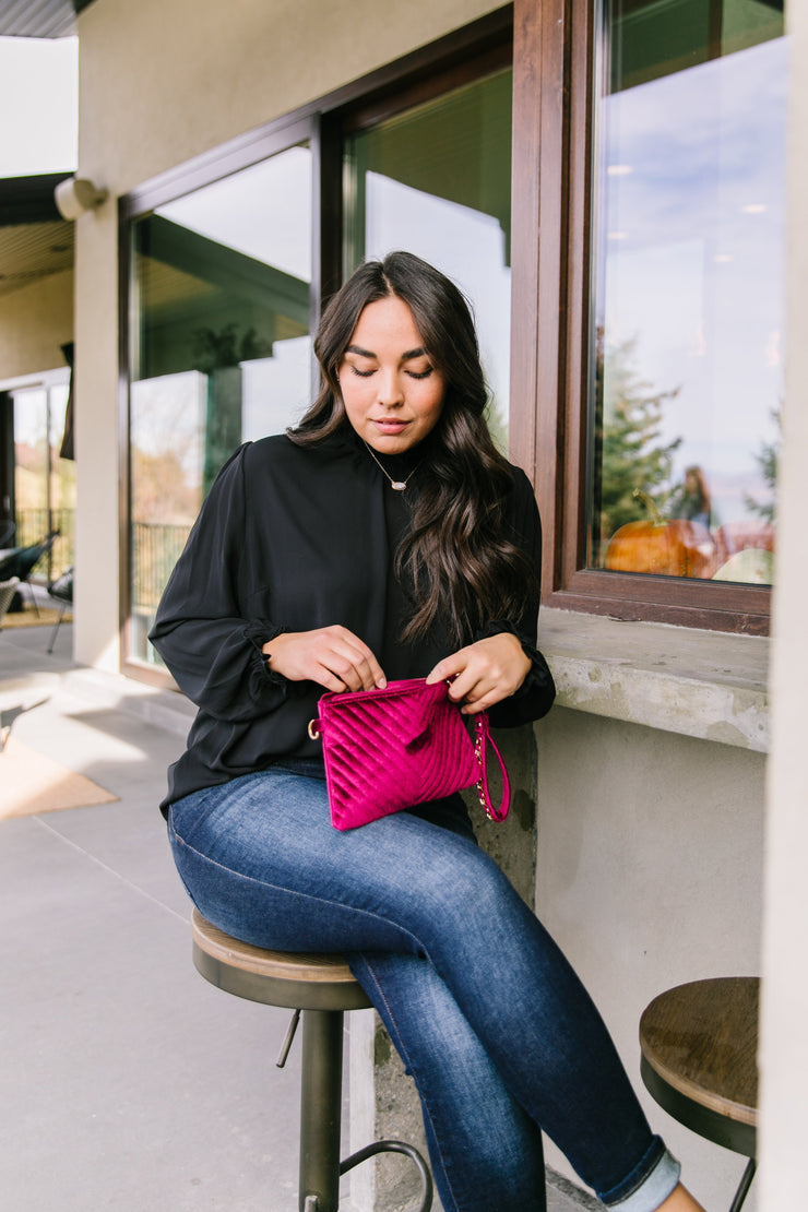 Velvet Chevron Crossbody Clutch In Fuchsia - Women's Clothing AfterPay Sezzle KanCan Judy Blue Simply Sass Boutique