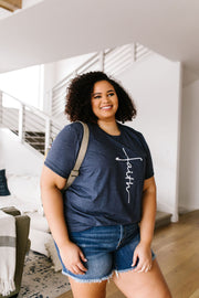 Vertical Faith Graphic Tee In Heathered Navy - Simply Sass Boutique