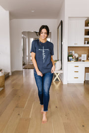 Vertical Faith Graphic Tee In Heathered Navy - Women's Clothing AfterPay Sezzle KanCan Judy Blue Simply Sass Boutique