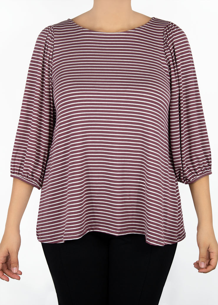 Violet - Mauve and White Stripe - Women's Clothing AfterPay Sezzle KanCan Judy Blue Simply Sass Boutique
