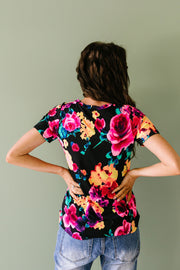 Watercolor Flowers Keyhole Top In Black - Women's Clothing AfterPay Sezzle KanCan Judy Blue Simply Sass Boutique