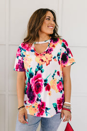 Watercolor Flowers Keyhole Top In Ivory - Women's Clothing AfterPay Sezzle KanCan Judy Blue Simply Sass Boutique