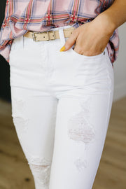 White Storm Destroyed Skinny Judy Blue Jeans - Women's Clothing AfterPay Sezzle KanCan Judy Blue Simply Sass Boutique