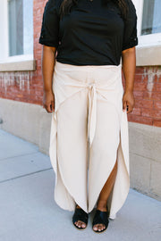 Wrap Fall Up Tie Front Pants In Sand - In House - Women's Clothing AfterPay Sezzle KanCan Judy Blue Simply Sass Boutique