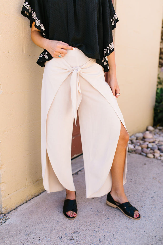 Wrap Fall Up Tie Front Pants In Sand - Women's Clothing AfterPay Sezzle KanCan Judy Blue Simply Sass Boutique