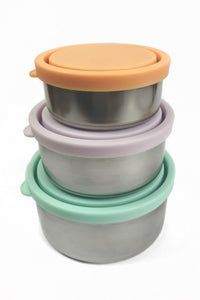 Round Nesting Containers. Set of 3. Pastel.