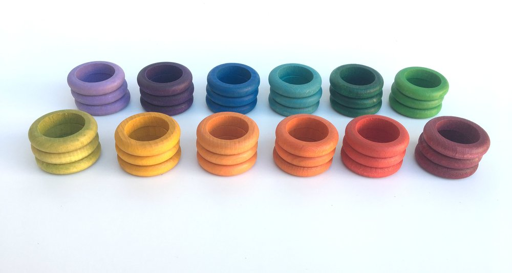 Coloured Rings - Set of 36