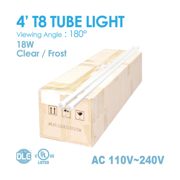 TUBE Light 4FT 18Watt T8 5,000K/6,000K Clear /Frost 1 BOX(25PCS)