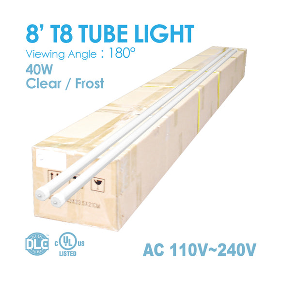 TUBE LIGHT 8FT 40WATT T8 5,000K/6,000K-CLEAR/FROST-1 BOX(20PCS)