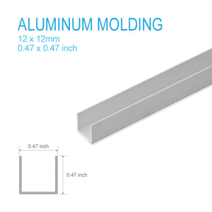 ALUMINUM U-MOLDING-12mm X 12mm X 5FT