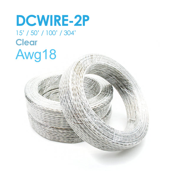 NES DC WIRE 2P Clear 15FT/50FT/100FT/304FT 22AWG