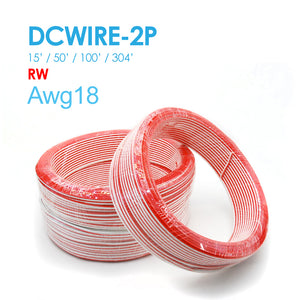 NC LED DC WIRE 2P Red/White 15FT/50FT/100FT/304FT  AWG18 UL