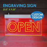 "Custom Design ENGRAVING LED SIGN 23.5"" X 9.25"""