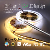 Brilliant 12V LED Tape Light 240LED/m-[2,700K / 3,200K / 4,200K / 6,000K]-96w 1200LED/16.4FT [IP20/IP67]