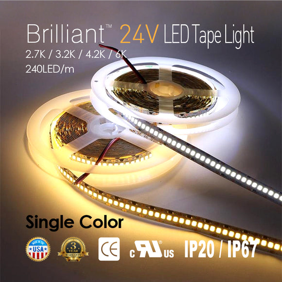 Brilliant 24V LED Tape Light 240LED/m-[2,700K / 3,200K / 4,200K / 6,000K]-96W 1200LED/16.4FT [IP20/IP67]