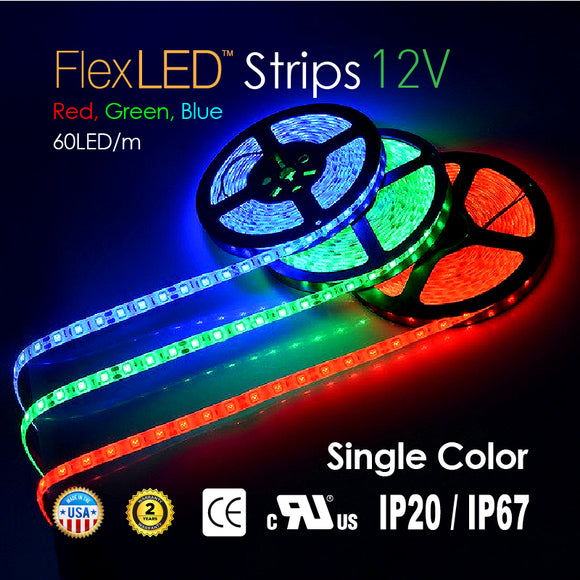 Flex LED Strips 12V 60LED/m-SINGLE Color RED/GREEN/BLUE-72W 300LED/16.4FT [IP20/IP67]