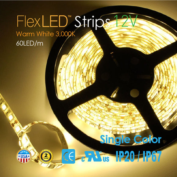 Flex LED Strips 12V 60LED/m-Warm White 3,000K-72W 300LED/16.4FT [IP20/IP67]