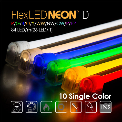 Flex NEON LED 24V 84 LED/m(26 LED/ft) Domed 10 Single Color-9W/m(2.8W/ft) 66Ft/Roll IP65