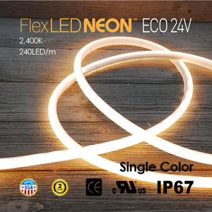 Flex LED ECO-NEON 24V 240LED/m 2400K WARM COLOR-16.4FT/ROLL
