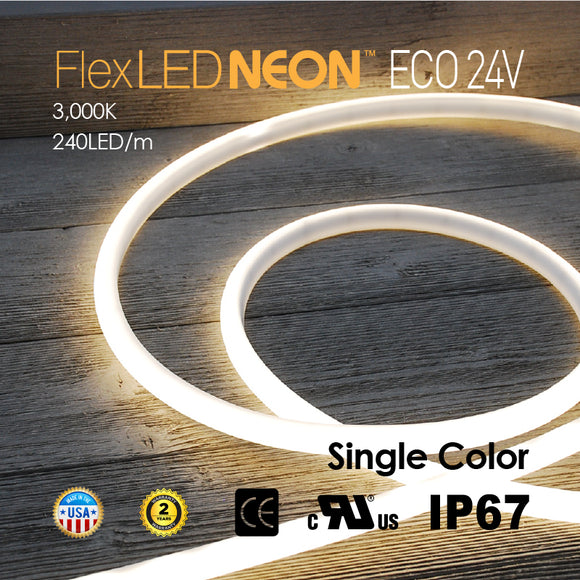 Flex LED ECO-NEON 24V 240LED/m 3000K WHITE WARM COLOR-16.4FT/ROLL
