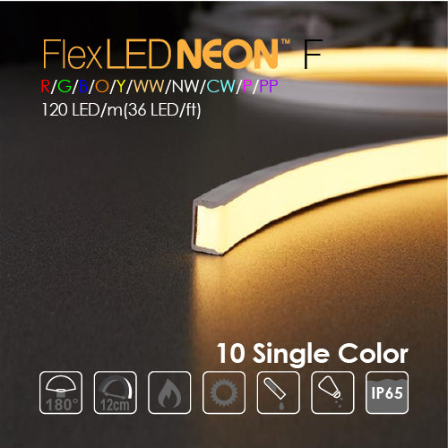 Flex NEON LED 24V 120 LED/m(36 LED/ft) Flat 10 Single Color-10W/m(3W/ft) 66Ft/Roll IP65