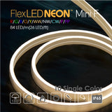 Flex NEON LED 24V 84 LED/m(26 LED/ft) Mini Flat 10 Single Color-9W/m(2.8W/ft) 66Ft/Roll IP65