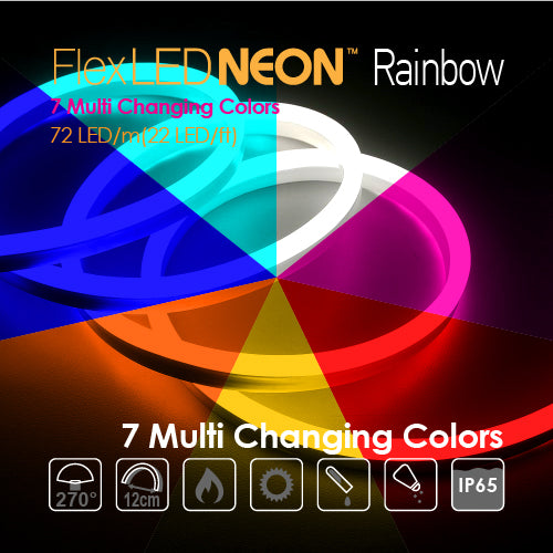 Flex NEON LED 24V 72 LED/m(22 LED/ft) Rainbow 7 Multi Changing Colors-14.4W/m(4.5W/ft) 66Ft/Roll IP65