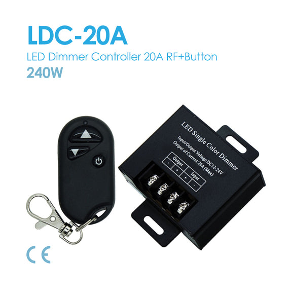 LED Dimmer Controller DC12~24V 20A 3Button Remote (LDC-20A)