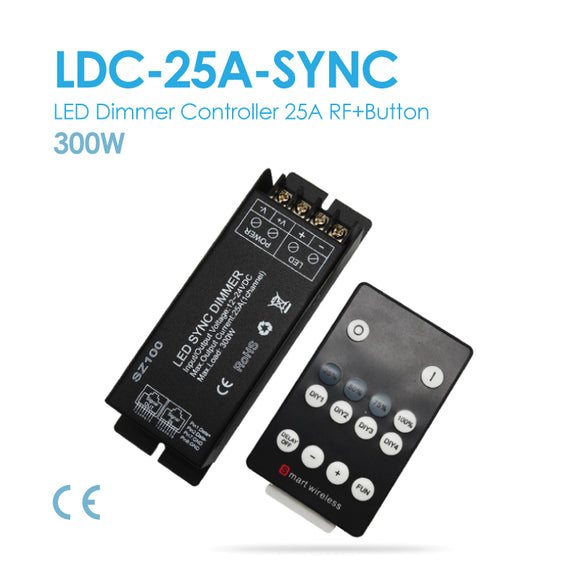 LED Single Color Controller, DC12~24V, 25A 14 Button (LDC-25A-SYNC)