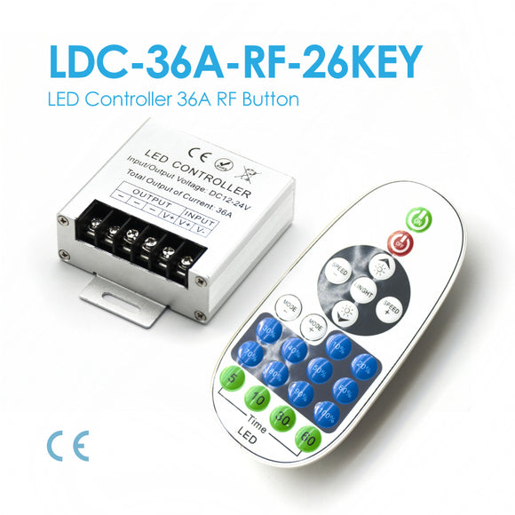 LED Single Color Controller, DC12~24V, 36A 23Button (LDC-36A-RF-23Key)