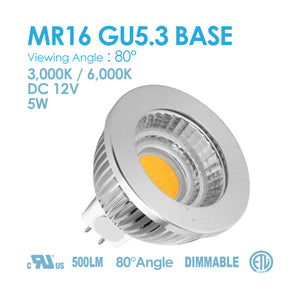 MR16 GU5.3 Base 7W 3000K/6000K DIMMABLE DC12V