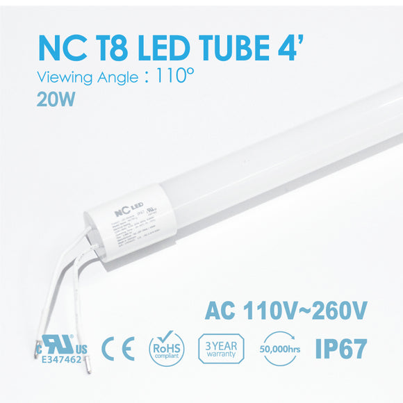 NC T8 LED TUBE 4FT 18Watt Input 100~240VAC, 8000K~