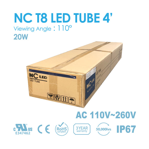 NC T8 LED TUBE 4FT 18Watt Input 100~240VAC, 8000K~ 1BOX(50PCS)