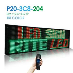 "NES Tri Color 2Line 27.5""(h)X53""(w) Remote (P20-3C8-204) Digital LED Sign"