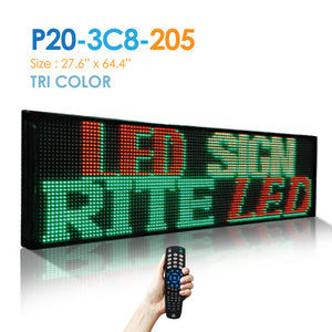 "NES Tri Color 2Line 27.5""(h)X65.5""(w) Remote (P20-3C8-205) Digital LED Sign"