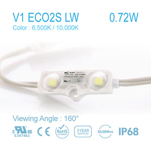 NC LED 2Lamps 0.72W 160Angle 6500K / 10000K Samsung LED (V1 ECO2S LW) 50Pcs