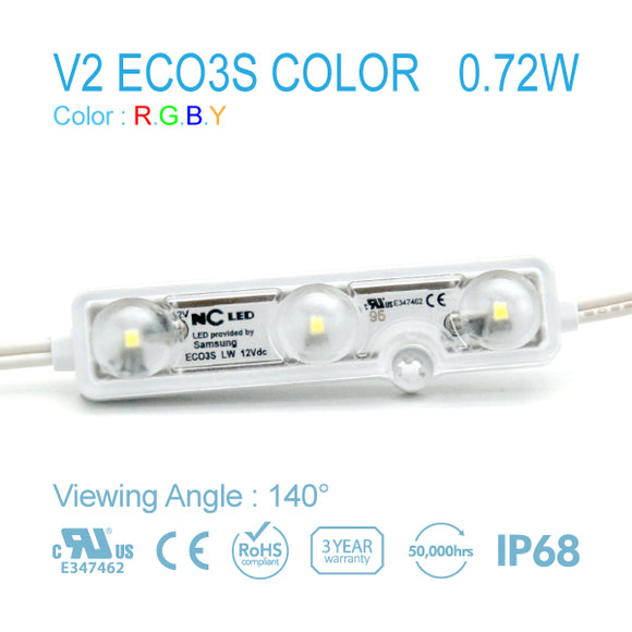 NC LED 3Lamps 0.72W 140Angle Red/Green/Blue/Yellow (V2 EO3S-LW2-R/G/B/Y) 50EA