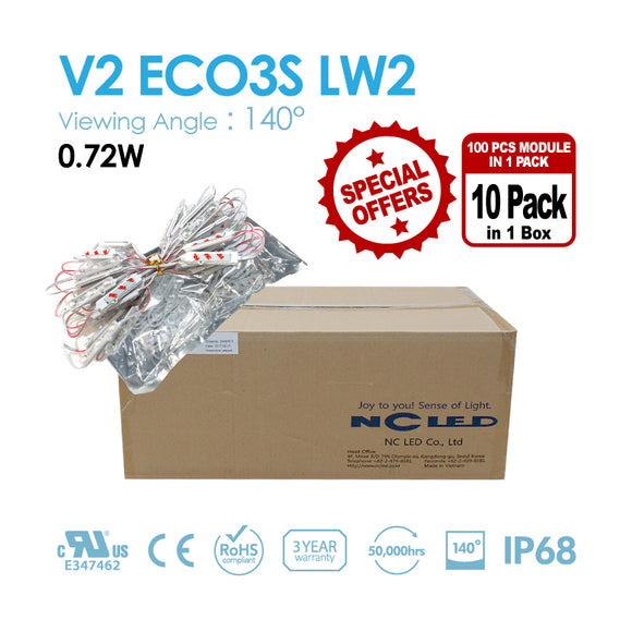 NC LED 3Lamps 140Angle White color 0.72W 3000K/6500K/10000K (V2 EO3S-LW2-NS) 1BOX(1000PCS)