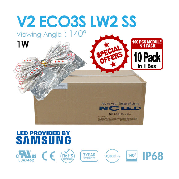 NC LED 3Lamps 1.0W 140Angle Samsung LED 3000K/4000K/5000K/6500K/9500K (V2 EO3S-LW2-SS) 1BOX(1000PCS)