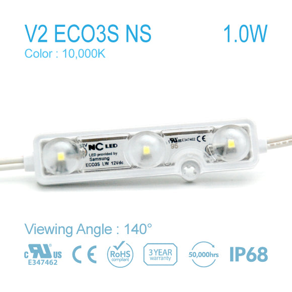 NC LED 3Lamps 140Angle White color 1.0W 10000K (V2 EO3S-LW2-NS) 50EA
