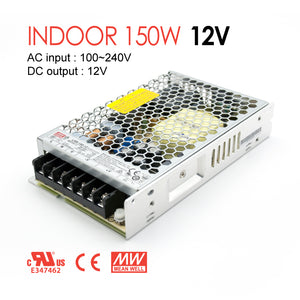Mean Well LED Switching Power Supply - LRS Series 150W Enclosed Power Supply - 12V DC
